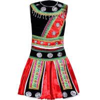 新款六一苗族演出服侗族舞蹈服装少数民族壮族瑶族表演服 白色 110cm