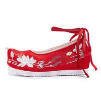 绣花鞋汉服鞋子女一脚蹬女式休闲韩版低跟鞋平跟女鞋古风高跟淡雅配汉服的鞋子