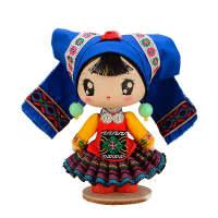 少数民族壮族特色饰品摆件送礼木偶娃娃纯手工艺礼盒装 仫佬族女娃